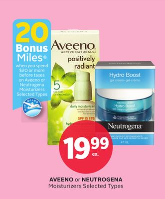 Aveeno or Neutrogena Moisturizers - 20 Bonus Air Miles Reward Miles