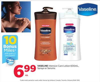 Vaseline Intensive Care Lotion 600ml - Sprays or Serums - 10 Bonus Air Miles Reward Miles