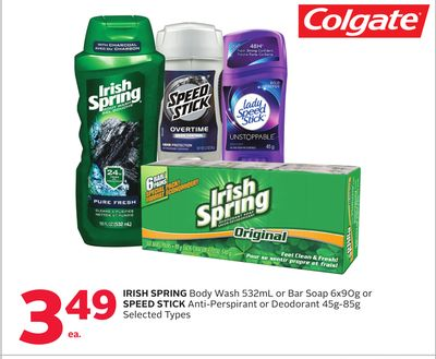 Irish Spring Body Wash 532ml or Bar Soap 6x90g or Speed Stick Anti-perspirant or Deodorant 45g-85g