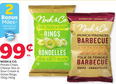 Nosh & Co. Potato Chips - Cheese Stix Or Sour Cream & Onion Rings - 2 Bonus Air Miles Reward Miles
