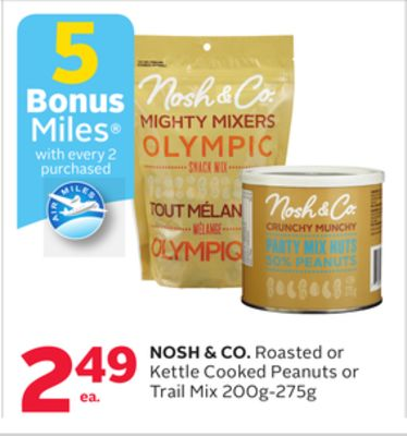 Nosh & Co. Roasted Or Kettle Cooked Peanuts Or Trail Mix - 5 Bonus Air Miles Reward Miles