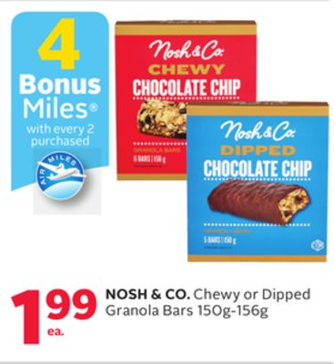 Nosh & Co. Chewy or Dipped Granola Bars - 4 Bonus Air Miles Reward Miles
