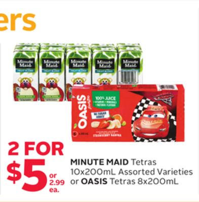 Minute Maid Tetras 10x200ml Assorted Varieties or Oasis Tetras 8x200ml