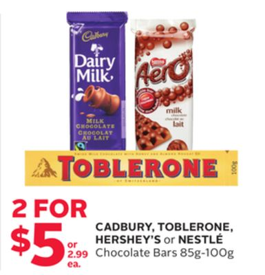 Cadbury - Toblerone - Hershey's or Nestlé Chocolate Bars