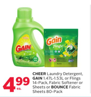 Cheer Laundry Detergent - Gain 1.47l-1.53l or Flings 14-pack - Fabric Softener or Sheets or Bounce Fabric Sheets 80-pack