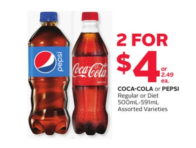 Coca-cola or Pepsi Regular or Diet 500ml-591ml