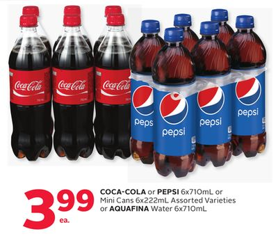 Coca-cola or Pepsi 6x710ml or Mini Cans 6x222ml Assorted Varieties or Aquafina Water 6x710ml