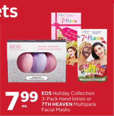 Eos Holiday Collection 3-pack Hand Lotion or 7th Heaven Multipack Facial Masks