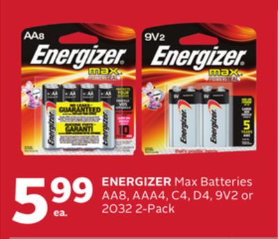Energizer Max Batteries Aa8 - Aaa4 - C4 - D4 - 9v2 or 2032 2-pack