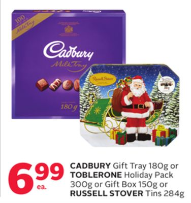 Cadbury Gift Tray 180g or Toblerone Holiday Pack 300g or Gift Box 150g or Russell Stover Tins 284g