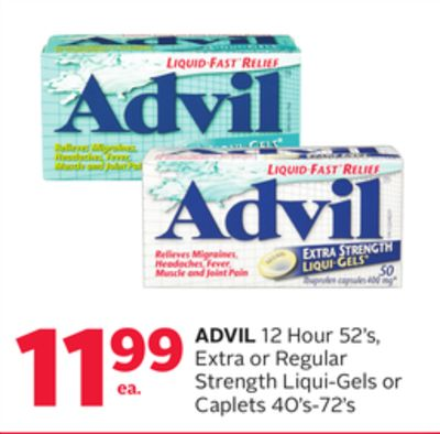Advil 12 Hour 52's - Extra or Regular Strength Liqui-gels or Caplets 40's-72's