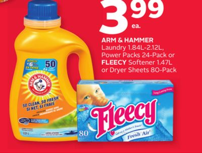 Arm & Hammer Laundry 1.84l-2.12l - Power Packs 24-pack or Fleecy Softener 1.47l or Dryer Sheets 80-pack