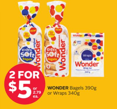 Wonder Bagels 390g or Wraps 340g