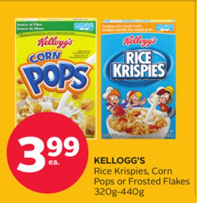 Kellogg's Rice Krispies - Corn Pops or Frosted Flakes
