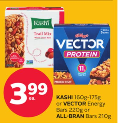 Kashi 160g-175g or Vector Energy Bars 220g or All-bran Bars 210g