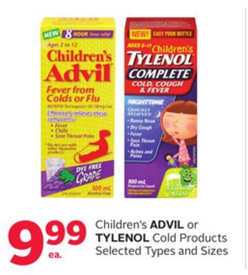 Children's Advil or Tylenol Cold Products