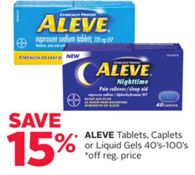 Aleve Tablets - Caplets or Liquid Gels 40's-100's