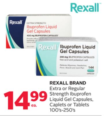 Rexall Brand Extra or Regular Strength Ibuprofen Liquid Gel Capsules - Caplets or Tablets