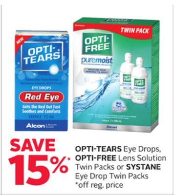 Opti-tears Eye Drops - Opti-free Lens Solution Twin Packs or Systane Eye Drop Twin Packs