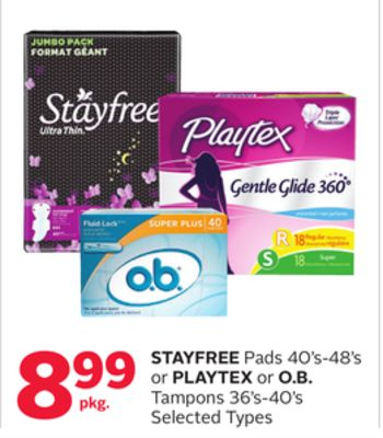 Stayfree Pads 40's-48's or Playtex or O.b. Tampons 36's-40's