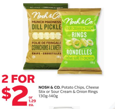 Nosh & Co. Potato Chips - Cheese Stix or Sour Cream & Onion Rings