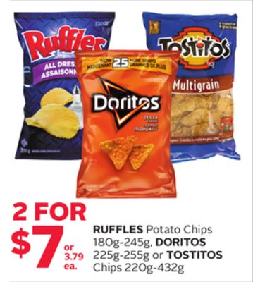 Ruffles Potato Chips 180g-245g - Doritos 225g-255g or Tostitos Chips 220g-432g
