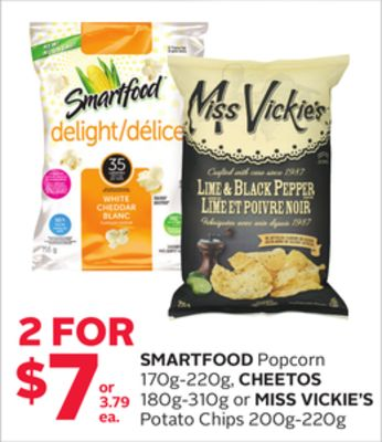 Smartfood Popcorn 170g-220g - Cheetos 180g-310g or Miss Vickie's Potato Chips 200g-220g