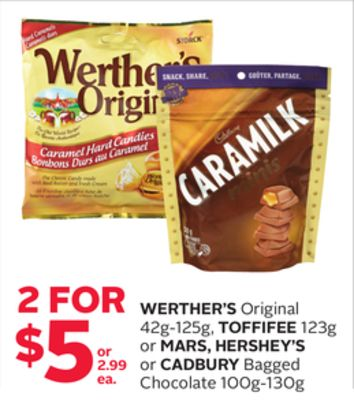 Werther's Original 42g-125g - Toffifee 123g or Mars - Hershey's or Cadbury Bagged Chocolate 100g-130g
