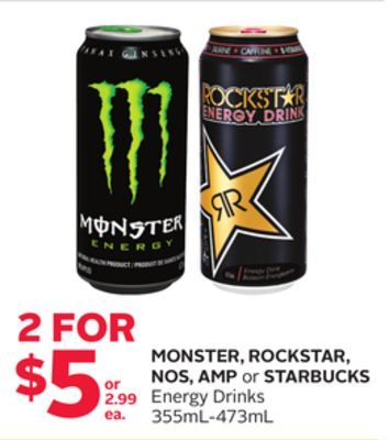 Monster - Rockstar - Nos - Amp or Starbucks Energy Drinks
