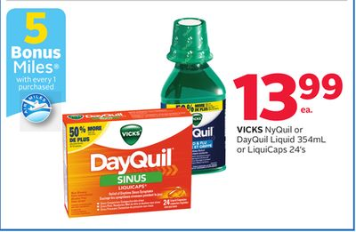 Vicks Nyquil or Dayquil Liquid 354ml or Liquicaps 24's - 5 Bonus Air Miles Reward Miles