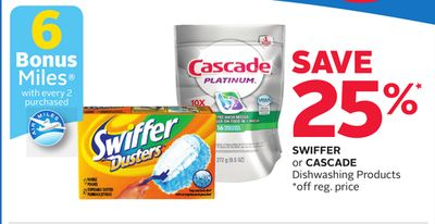 Swiffer or Cascade Dishwashing Products - 6 Bonus Air Miles Reward Miles