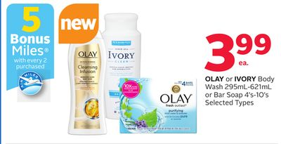 Olay or Ivory Body Wash 295ml-621ml or Bar Soap 4's-10's - 5 Bonus Air Miles Reward Miles
