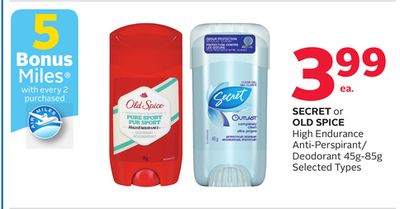 Secret or Old Spice High Endurance Anti-perspirant/ Deodorant - 5 Bonus Air Miles Reward Miles