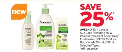 Aveeno Skin Care or Sun Care Featuring New Positively Radiant Sheer Daily Moisturizer Spf30 75ml or Body Wash 354ml-532ml