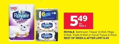 Royale Bathroom Tissue 12-roll - Mega 9-roll - Triple 8-roll or Facial Tissue 6-pack