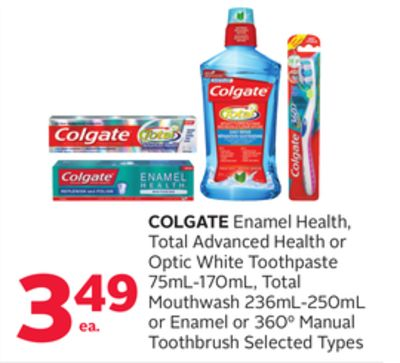Colgate Enamel Health - Total Advanced Health or Optic White Toothpaste 75ml-170ml - Total Mouthwash 236ml-250ml or Enamel or 3600 Manual Toothbrush