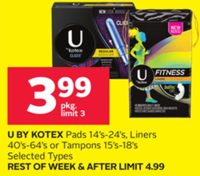 U By Kotex Pads 14's-24's - Liners 40's-64's or Tampons 15's-18's