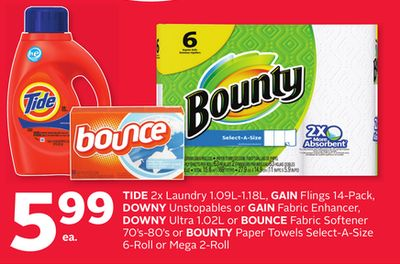 Tide 2x Laundry 1.09l-1.18l - Gain Flings 14-pack - Downy Unstopables or Gain Fabric Enhancer - Downy Ultra 1.02l or Bounce Fabric Softener 70's-80's or Bounty Paper Towels Select-a-size 6-roll or Mega 2-roll