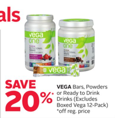Vega Bars - Powders or Ready To Drink Drinks (Excludes Boxed Vega 12-pack)