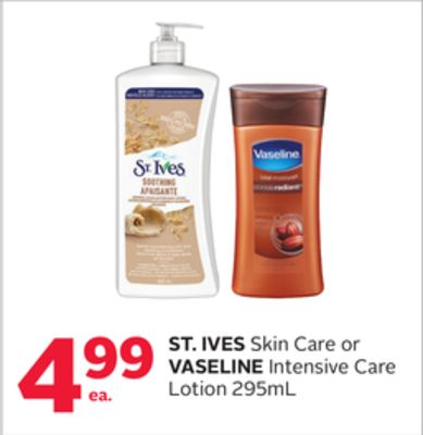 St. Ives Skin Care or Vaseline Intensive Care Lotion 295ml