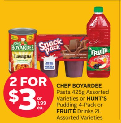 Chef Boyardee Pasta 425g Assorted Varieties or Hunt's Pudding 4-pack or Fruité Drinks 2l
