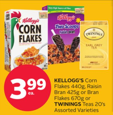 Kellogg's Corn Flakes 440g - Raisin Bran 425g or Bran Flakes 670g or Twinings Teas 20's
