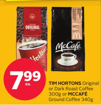 Tim Hortons Original or Dark Roast Coffee 300g or Mccafé Ground Coffee 340g