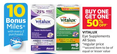 Vitalux Eye Supplements All Sizes - 10 Bonus Air Miles Reward Miles