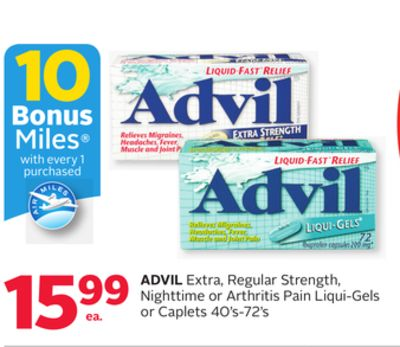 Advil Extra - Regular Strength - Nighttime or Arthritis Pain Liqui-gels or Caplets - 10 Bonus Air Miles Reward Miles
