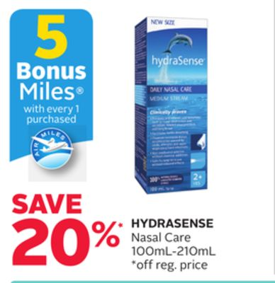 Hydrasense Nasal Care - 5 Bonus Air Miles Reward Miles