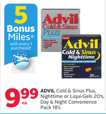 Advil Cold & Sinus Plus - Nighttime or Liqui-gels 20's - Day & Night Convenience Pack 18's - 5 Bonus Air Miles Reward Miles