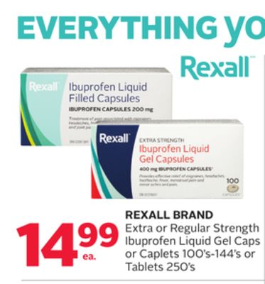 Rexall Brand Extra or Regular Strength Ibuprofen Liquid Gel Caps or Caplets 100's-144's or Tablets 250's