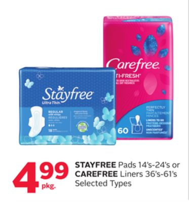 Stayfree Pads 14's-24's or Carefree Liners 36's-61's