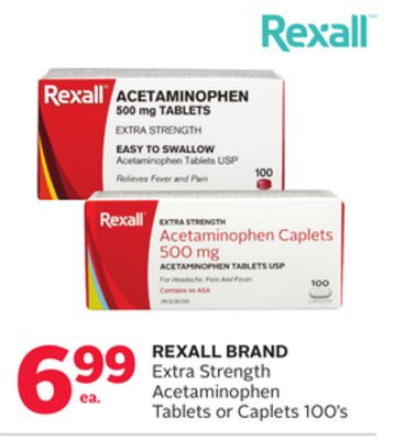 Rexall Brand Extra Strength Acetaminophen Tablets or Caplets
